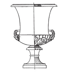 Antique krater is made out of marble vintage vector