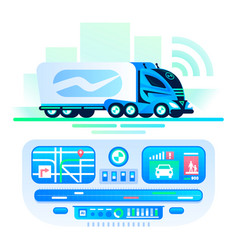 autonomous self-driving truck on the road remote vector image