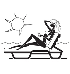 Beautiful girl sitting on the lounge on the beach vector image