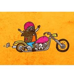 Bikie on a motorbike cartoon vector