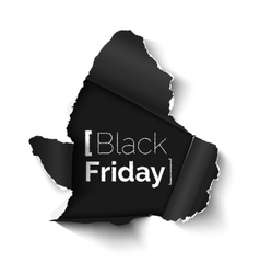 Black Friday hole in paper banner vector image