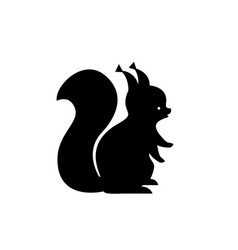 black squirrel silhouette vector image