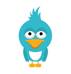 blue caricature bird animal with closed wings vector image