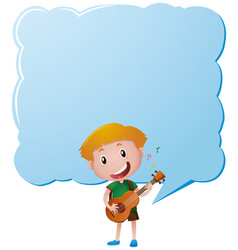 border template with boy playing guitar vector image