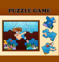 Boy diving in undersea with puzzle concept vector