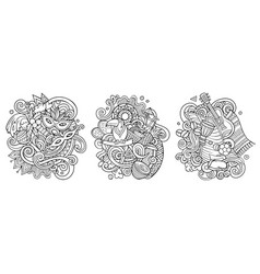 brazil cartoon doodle designs set vector image