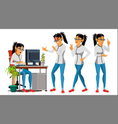 Business woman character working asian vector