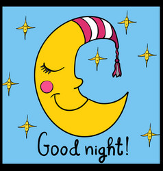 cartoon sleeping moon in striped nightcap with vector image