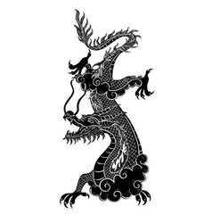 Chinese dragon black color isolated on a white vector