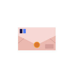 closed postal envelope from brown paper with blue vector image