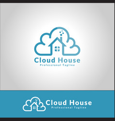 cloud house logo vector image