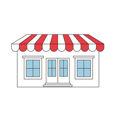 Color sections silhouette of store with awning vector