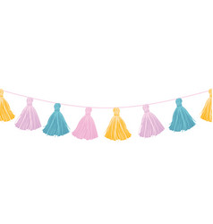 Colorful pastel hanging decorative tassels vector