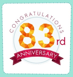 Colorful polygonal anniversary logo 3 083 vector