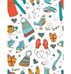 Colorful seamless pattern with hand drawn graphic vector