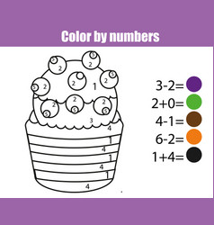 Coloring page with cupcake color by numbers vector