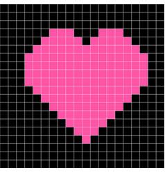 Cross-stitch heart pattern mosaic pink heart vector
