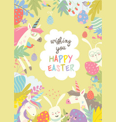 Cute frame composed of easter bunniesunicorns and vector