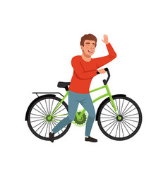 Cyclist rider man with bike active lifestyle vector