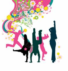 dancing young people floral background vector image