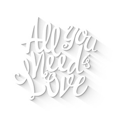 Doodle lettering symbol of love and valentines day vector