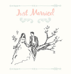 Draw bride groom sitting tree branch sketch vector