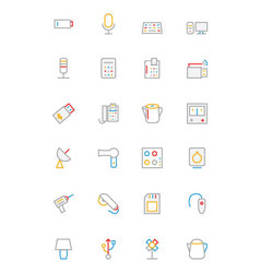 Electronics and Devices Colored Outline Icons 3 vector image