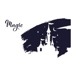 Fairy tale castle silhouette wizard world vector