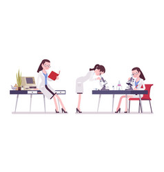 Female scientist working vector