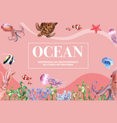 Frame design with sealife themed creative vector