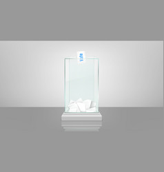 Glass ballot box with papers realistic vector