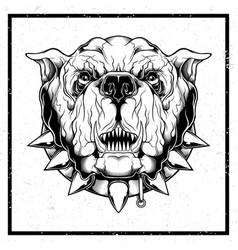 Grunge style closeup furious bulldog vector