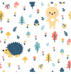 Hand drawn seamless pattern with bunny and vector