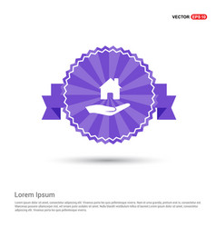 hands holding house icon - purple ribbon banner vector image
