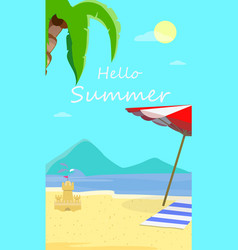 hello summer beach background with seascape view vector image