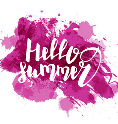 hello summer purple colored hand lettering vector image