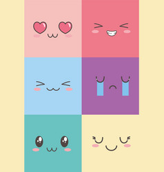 kawaii facial adorable expression emoticon cartoon vector image