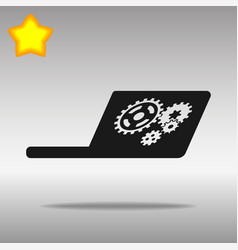 laptop black icon button logo symbol vector image