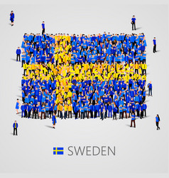 large group people in sweden flag shape vector image