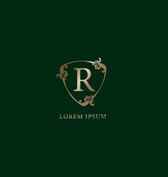 Letter r alphabetic logo design template luxury vector