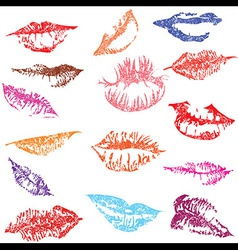 Lip print track set in tender kiss Love vector image