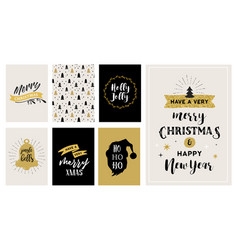 Merry christmas hand drawn cards vector
