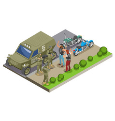 Military special forces isometric composition vector