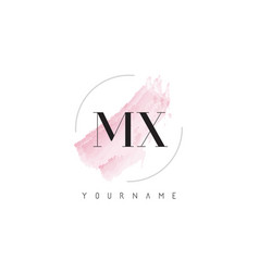 mx m x watercolor letter logo design with vector image