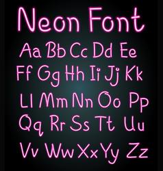 Neon font design for english alphabets vector