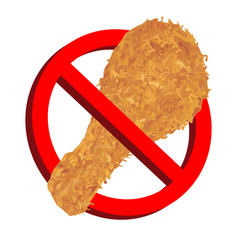 no food with chicken fries icon prohibition sign vector image