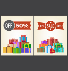 Off half price sale from 10 to 90 set promo label vector