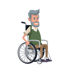 Old man character disabled sitting in wheelchair vector