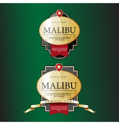 Ornate labels Malibu with Red Tapes vector