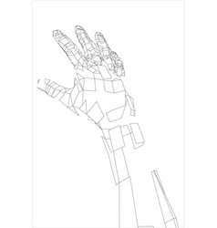 Outline human hand wire-frame style vector